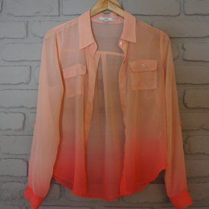 Papaya Ombre Blouse with Roll-Up Sleeves